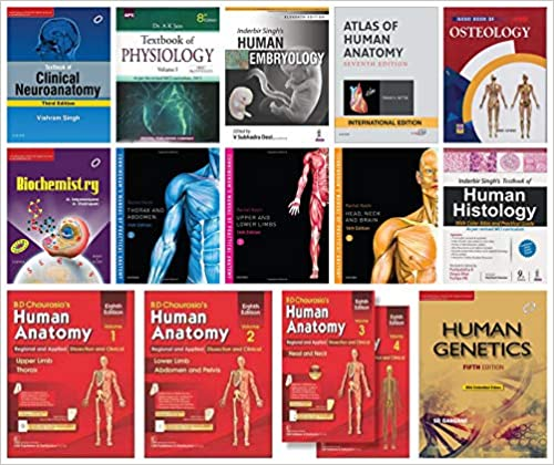 MBBS First Year Textbook sets (14 books sets) With Free Dissection Kit Paperback
